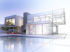 3D rendering of a modern house with contrasting realistic rendering and wireframe